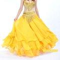 Amarillo de gasa danza del vientre falda, danza del vientre ropa, ropa de baile del vientre
