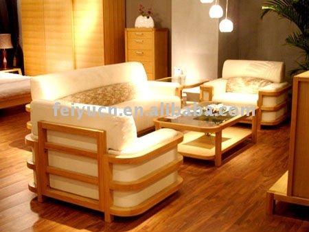 Moderno design de moda simples sof de bambu conjunto conjuntos para sala de visitas id do for Salas de madera modernas