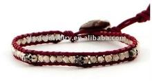 2012 Handmade Leather Beaded Wrap Bracelet with Silver Beads Single Wrap Bracelet with Silver Skulls