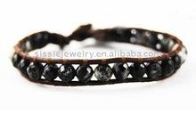 2012 Handmade Personalized Leather Beaded Wrap Bracelet with Orbicular Granite Single Wrap Bracelet