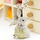 Wholesale Alloy Silver Shiny Cute Crystals Bunny Key Chain #15455