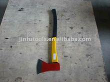 axe with fiberglass handle,1200G,red color head,normal fibreglass handle