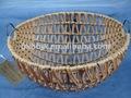 marrom de corda de plástico de tecelagem e moldura de ferro suporte de armazenamento