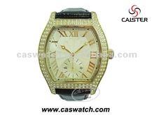 man diamond watch genuine leather strap