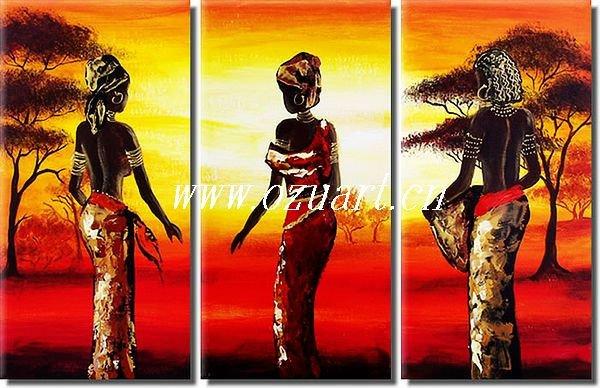 Abstracto contemporáneo africano pintura mujeres petróleo