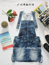 Moda para mujer trajes, alta calidad denim suspender falda corta, liga de mezclilla azul faldas ( WX0723 )