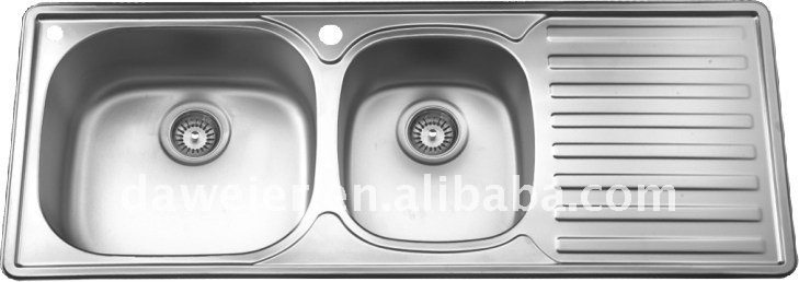 DH836 double bowl with built-in drainboard decor kitchen sink