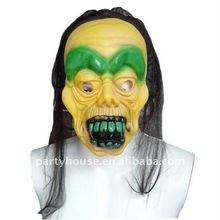 Halloween Latex Face Party Mask with Green Eyebrow Custom Mask