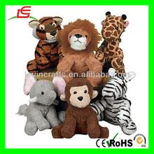 D851 6pcs Stuffed Plush Zoo Animal Set Toy for Kids