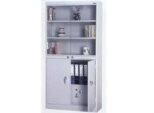 2-section steel office storage cupboard with built-in safe box