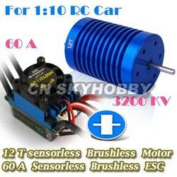 COMBO 12T 3200Kv Motor+60A ESC for 1/10 RC car