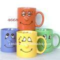 solid cor cerâmica vidrada funny face caneca de café