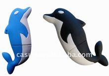 custom soft pvc delphis shape usb drive animal usb flash drive 1GB 2GB 4GB 8GB full capacity