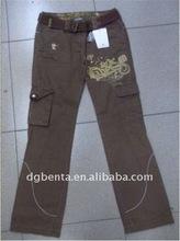 Ladies' 100% Cotton Stocks Cargo Pant --KF3607