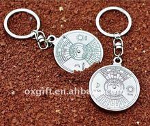 OXGIFT wholesale metal 50-year calendar keychain/key chain with custom logo