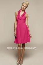 Wholesale Halter Sheath Chiffon Maid Of Honor Gown 2012