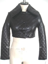 2012 100% GENUINE QUILTING LEATHER JACKET IN BLACK COLOR