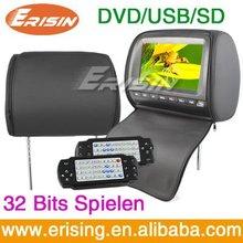 "Erisin Digital Screen 2x9"" Headrest DVD Players 8&32 bits Game USB DVD"