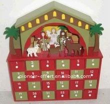 Wooden christmas nativity calendar box