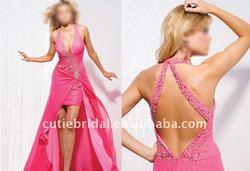 Dark Pink Halter Beaded Front Short Back Long Prom Gown 5789