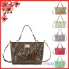 unique style lady leather handbag with matched small purse