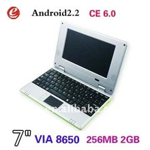 VIA 8650 7 inch mini new laptop Notebook win ce 6.0/Android 2.2 OS with Wifi Notebook