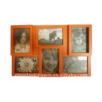 6 OPG Wood collage photo frame in orange color