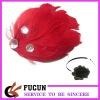 elegant feather headband with rhinestone decorate