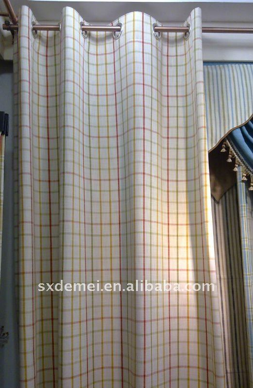 polyester striped checked fabric door curtain lining and drapery
