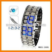 Japanese fashion Lava style iron Red/Blue LED metal LED samurai watch wristwatches WH01-2005