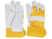 Yellow twill rubberized cuff reinforced cowhide working glove