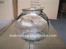 Glass drum shaped fish bowl