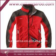 100%polyester fleece soft shell jacket, red fleece jacket, fleece coats
