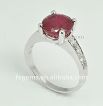 New Fashion 925 Sterling Silver Handmade Natrual Ruby Silver Rings SV016RG00625