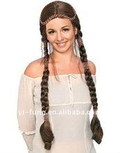 Renaissance Celtic Braids Medieval Costume Brunette Wig
