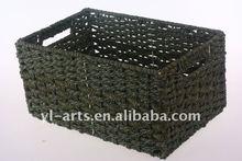 pretty rectangle paper straw weave storage basket