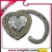heart shape smart crystal utility hook for bag accessory