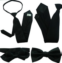 Polyester Balck Tie And Bowtie Neckwear With Clip Elastic Zipper For Promotion