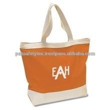 Orange Color Recyclable/Foldable/Plain Shopping Cotton Bag