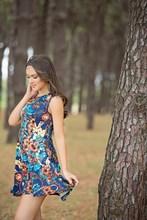 Multi colour sleeveless fit & flare dress