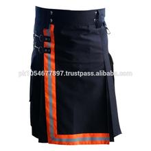 FR Bunker Gear Turnout Cotton Black Utility Work Kilt For Firemen