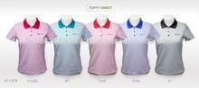 Fashion Women Polka Dot Print Design Polo T-shirt #TF11379