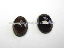 Natural Smokey Quartz Oval Checker Cut Semi Precious Loose Gemstones