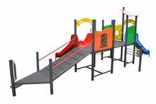 Children playground equipment with 2 slides suitable for disabled children