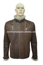 Genuine Shearling Sheepskin Fur Leather Men's Stylish Jacket