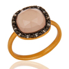 Yellow Gold Plated Rose Chalcedony Handmade Ring, Beautiful Bezel Setting Chalcedony Ring Jewelry Manufacturer
