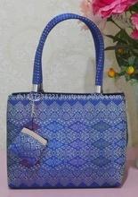 Thailand Traditional Pare-Wha Silk Bag deep Ocean Blue Size S