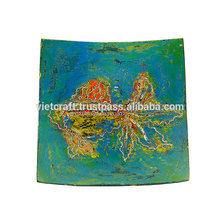 beautiful cheap blue lacquer square decorative plate newest stock decorative plate