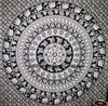 Elephant Mandala dorm tapestry Printed cotton Indian wall hanging white and black wall decor