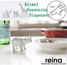 Animal shaped pink salt and salt dispenser Rhinoceros